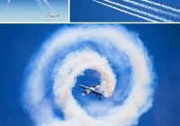 Какую траекторию оставляет в небе реактивный самолет?
