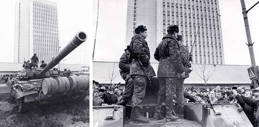 Диалог гражданского населения Литвы с советскими военными в Вильнюсе
