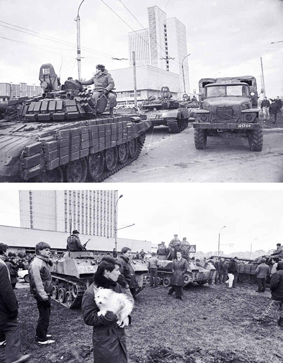 Фотографии советских танков на улицах Вильнюса