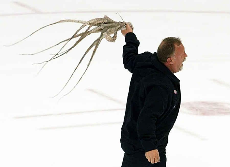 Хоккейный осьминог в деле
