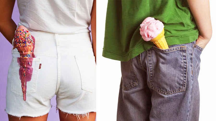 Мороженое в заднем кармане запрещено