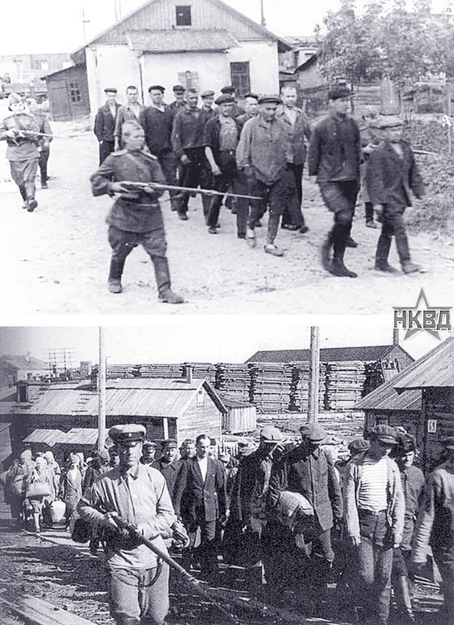 Заключенные Гулага под конвоем охранников