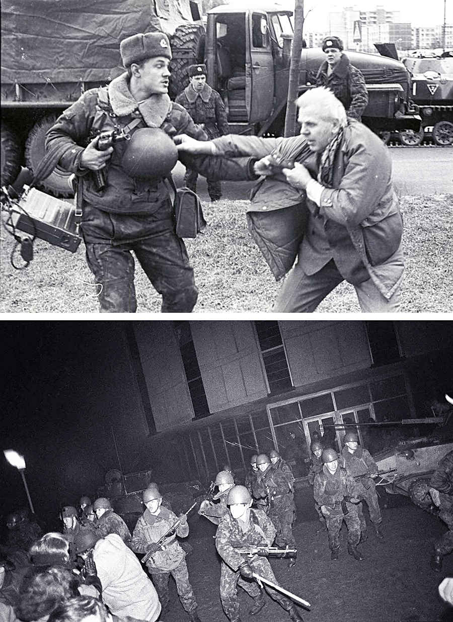 Советские солдаты разгоняют недовольных КПСС жителей Литвы