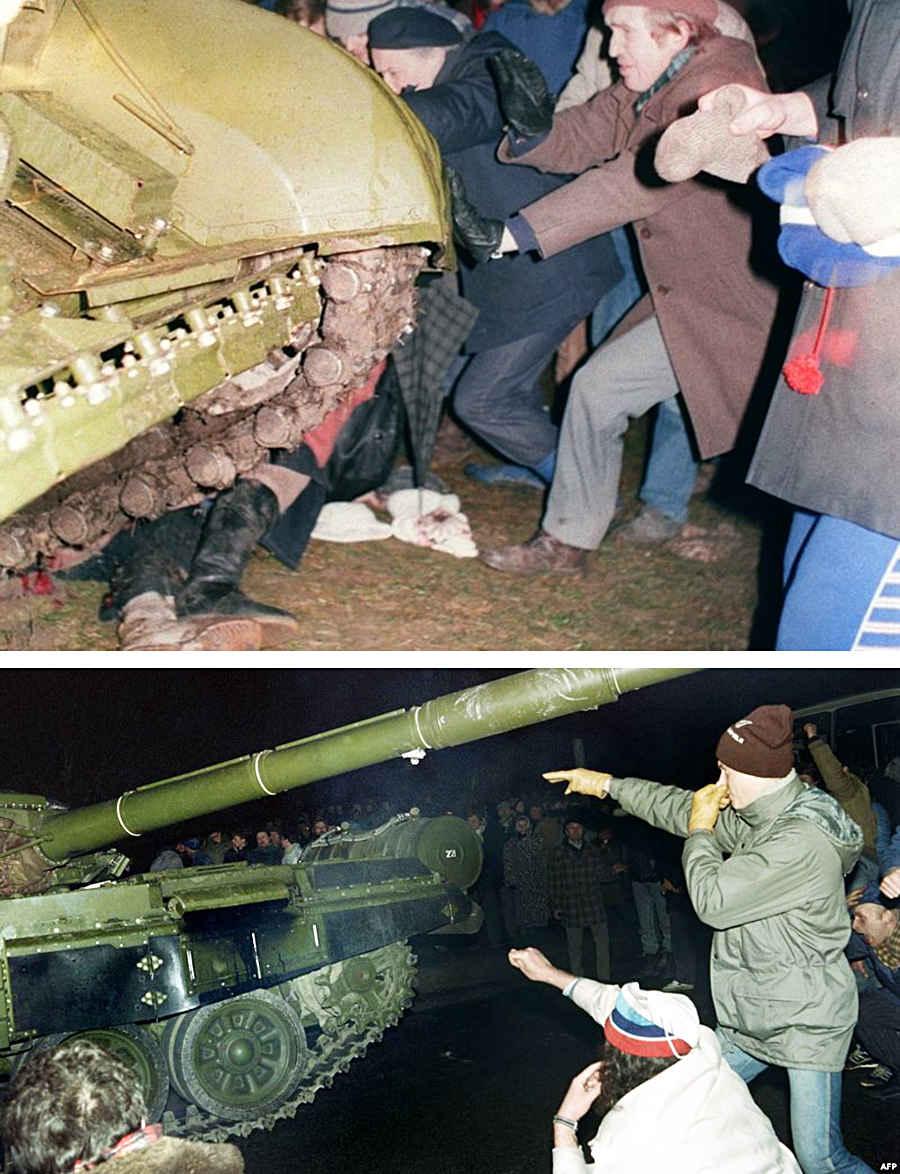 Советские танки давят жителей независимой Литовской республики