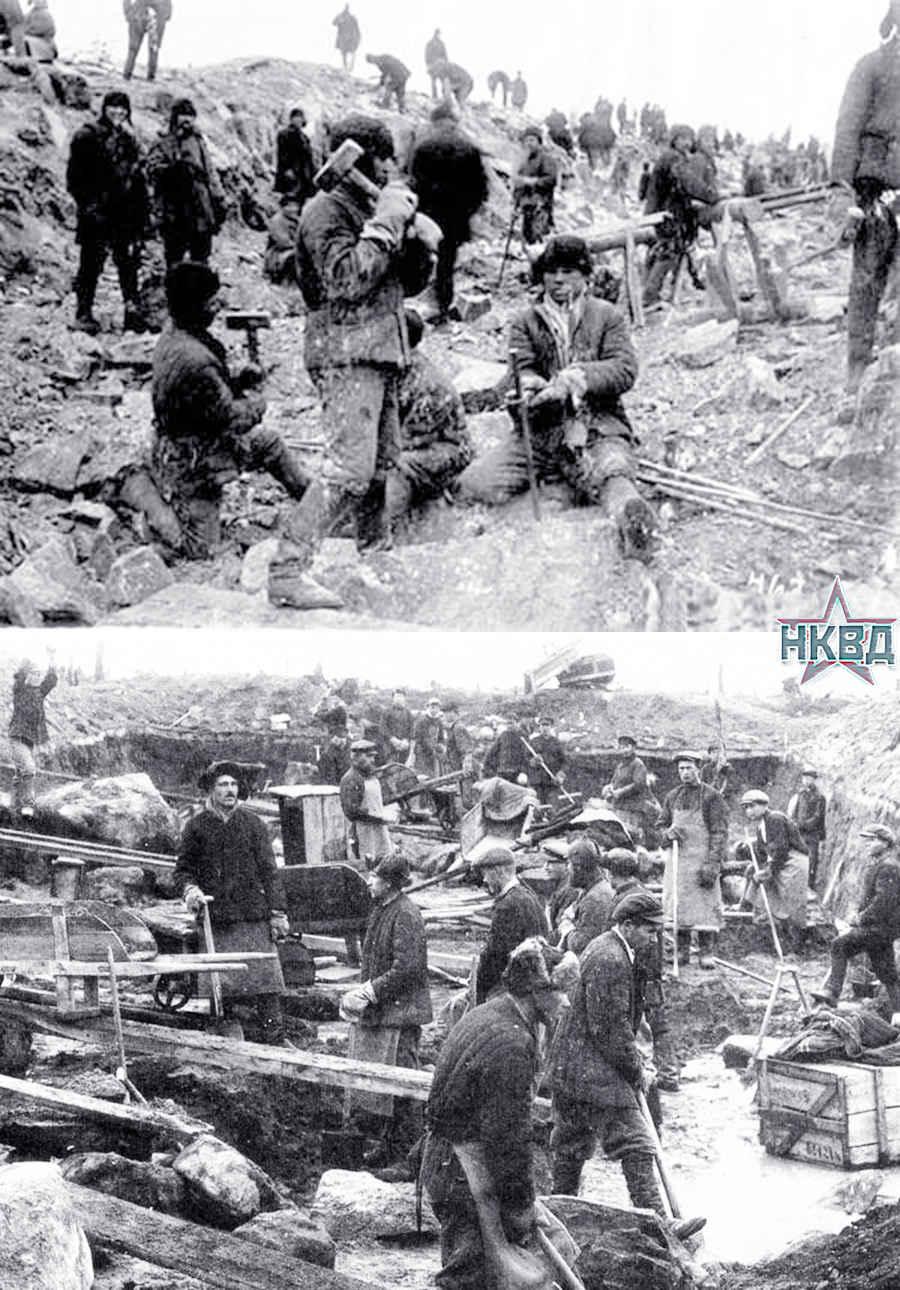 Тяжелый труд в лагере Гулага