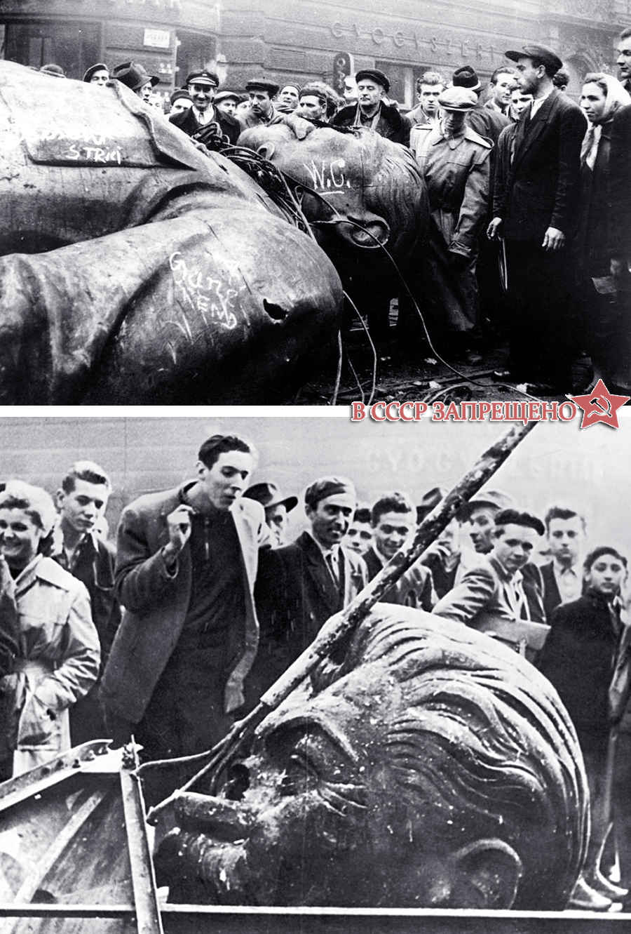 Восставшие рушат, ломают памятник Сталина