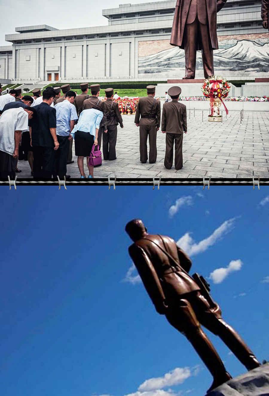 Запрещенные фотографии вождей Северной Кореи, сделанные со спины