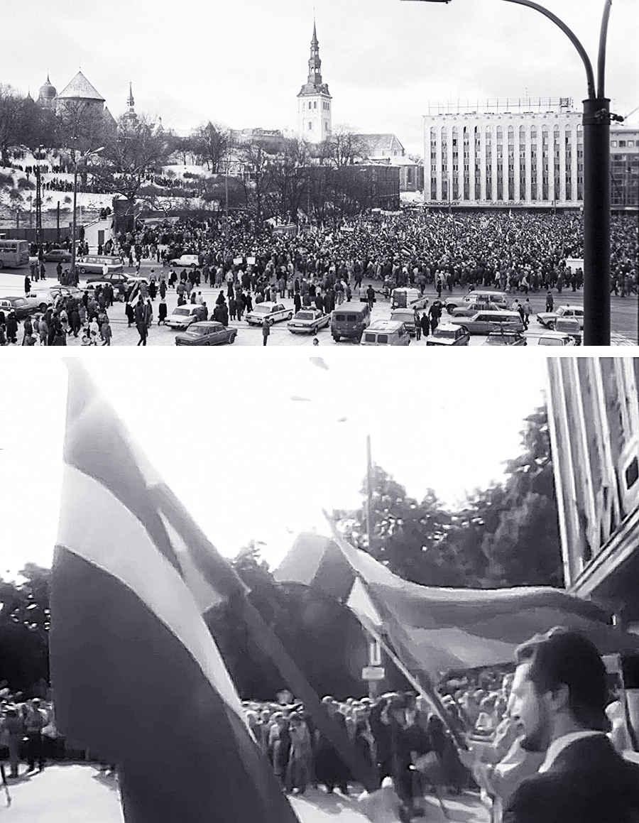 Фотографии митингов, призывающих к независимости Эстонии от влияния СССР